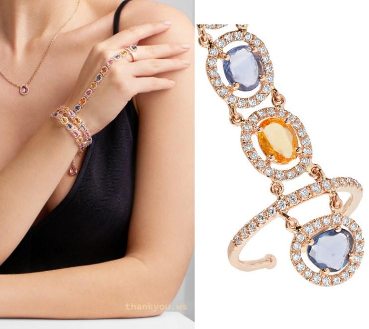 bratara prelungita cu inel din aur 18 cu safire si diamante AMRAPALI 18-karat gold, sapphire and diamond bracelet