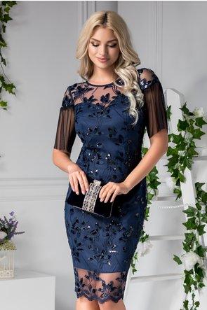 rochie eleganta bleumarin de seara din dantela si broderie