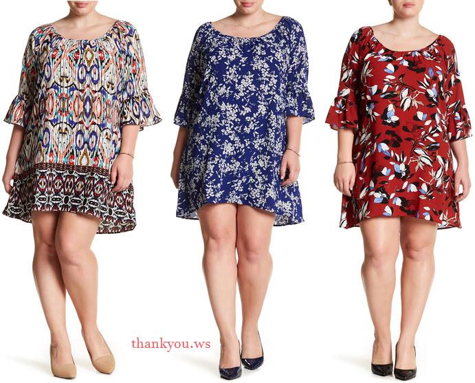 rochii casual masuri mari Want & Need Off-The-Shoulder Printed Shift Dress Plus Size