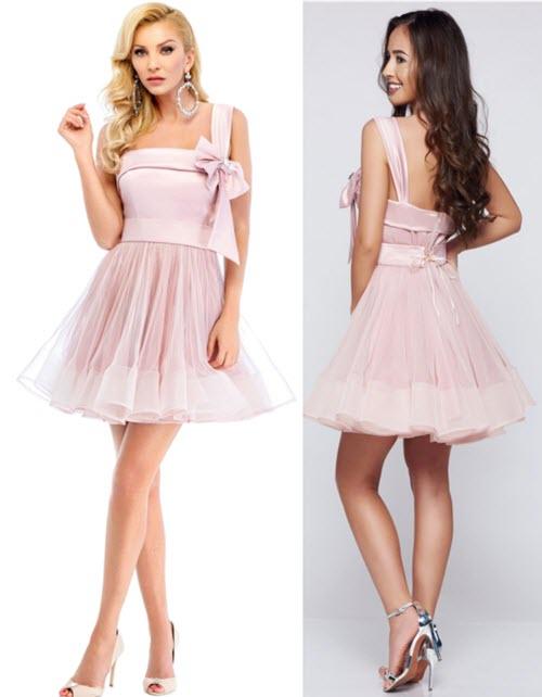 Rochie eleganta de seara scurta, din tul in combinatie cu material satinat roz