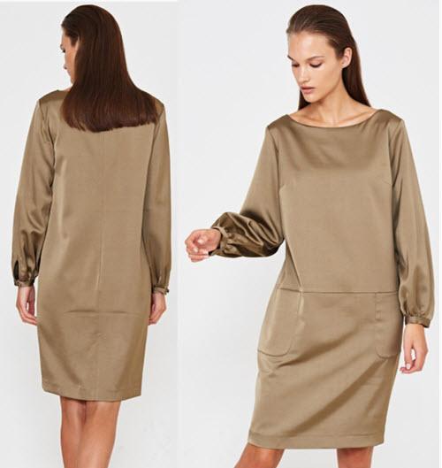 rochii midi elegante cu maneci lungi bufante