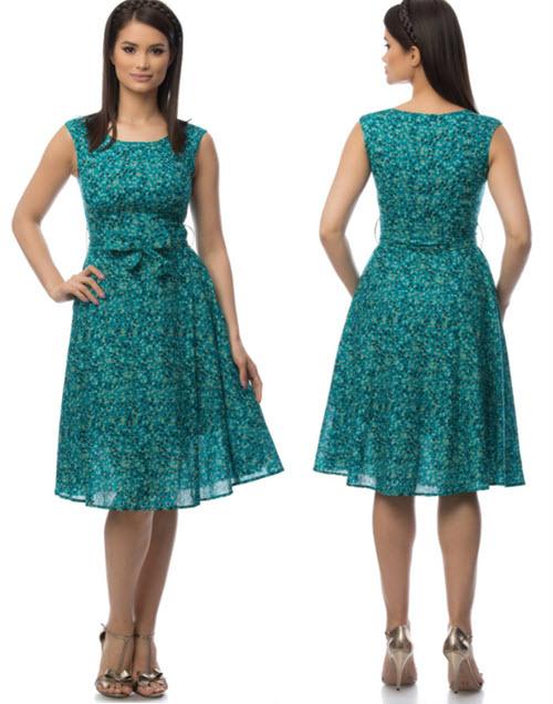 Rochie verde fara maneci cu buline si cordon