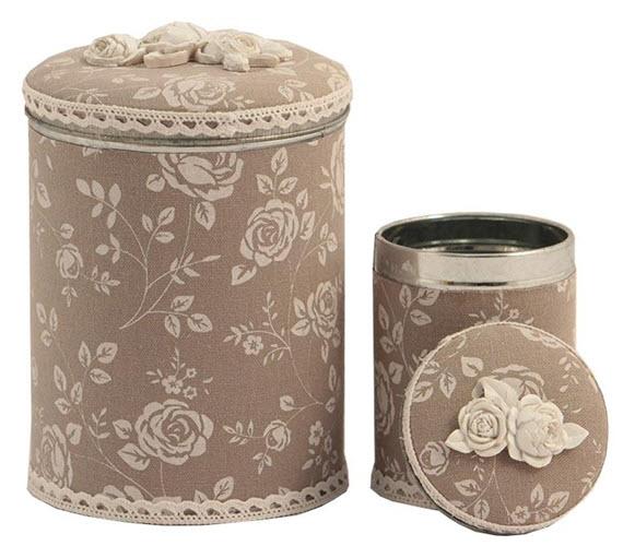 Set 2 recipiente metal cu tesatura din bumbac cu capac Beige Bloom