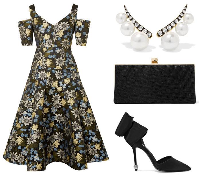rochie midi din jacard inflorata anii 50