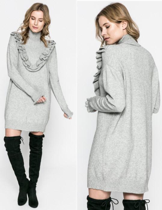rochii groase tricotate gri cu volanase