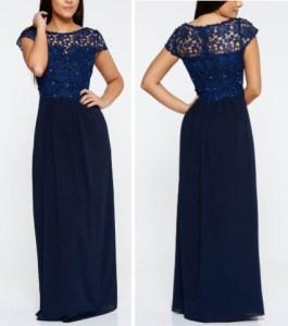 Rochie albastra inchis de ocazie lunga cu aplicatii cu pietre strass din material vaporos