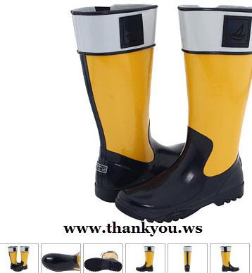 cizme de cauciuc negru cu galben si gri