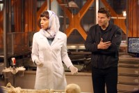 """BONES: Booth (David Boreanaz, R) and Cam (Tamara Taylor, L) are forced to help a member of the Iranian parliament solve a murder in the """"The Murder in the Middle East"""" episode of BONES airing Thursday, May 14 (8:00-9:00 PM ET/PT) on FOX. ©2015 Fox Broadcasting Co. Cr: Patrick McElhenney/FOX"""
