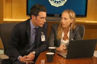 """BONES: L-R: John Boyd and guest star Kim Raver in the """"The Brother in the Basement"""" episode of BONES airing Thursday, Oct. 8 (8:00-9:00 PM ET/PT) on FOX. ©2015 Fox Broadcasting Co. Cr: Patrick McElhenney/FOX"""