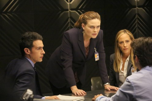 """BONES: L-R: John Boyd, Emily Deschanel and guest star Kim Raver in the """"The Brother in the Basement"""" episode of BONES airing Thursday, Oct. 8 (8:00-9:00 PM ET/PT) on FOX. ©2015 Fox Broadcasting Co. Cr: Kevin Estrada/FOX"""