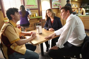 """BONES:  L-R:  Guest star Tyler Francavilla, Emily Deschanel and David Boreanaz in the """"The Carpals in the Coy-Wolves"""" episode of BONES airing Thursday, Oct. 22 (8:00-9:00 PM ET/PT) on FOX.  ©2015 Fox Broadcasting Co.  Cr:"""