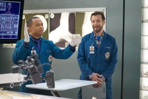 """BONES:  L-R:  Guest star Eugene Byrd and TJ Thyne in the """"The Promise in the Palace"""" episode of BONES airing Thursday, Nov. 12 (8:00-9:00 PM ET/PT) on FOX.  ©2015 Fox Broadcasting Co.  Cr:  Jennifer Clasen/FOX"""