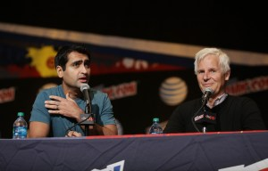 THE X-FILES:  Moderator Kumail Nanjiani and THE X-FILES Creator/Executive Producer Chris Carter during FOX FANFARE 2015 at New York Comic Con on Saturday, Oct. 10 at Javits Center in New York, NY.  CR: Ben Hider/FOX