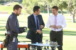 "BONES: L-R: TJ Thyne, John Boyd and David Boreanaz in the ""High Treason in the Holiday Season"" episode of BONES airing Thursday, Nov. 19 (8:00-9:00 PM ET/PT) on FOX. ©2015 Fox Broadcasting Co. Cr: Patrick McElhenney/FOX"