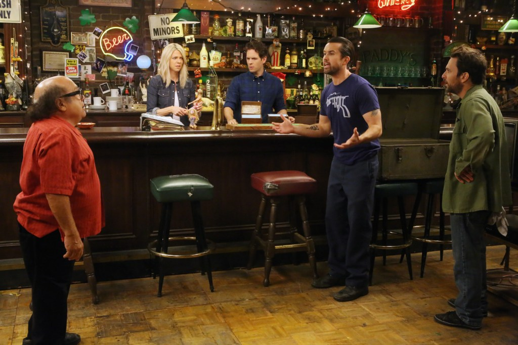"""IT'S ALWAYS SUNNY IN PHILADELPHIA -- """"Chardee MacDennis 2: Electric Boogaloo"""" -- Episode 1101 (Airs Wednesday, January 6, 10:00 pm e/p) Pictured: (l-r) Danny DeVito as Frank, Kaitlin Olson as Dee, Danny DeVito as Frank, Rob McElhenney as Mac, Charlie Day as Charlie. CR: Patrick McElhenney/FX"""