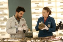"BONES: L-R: Guest star Ignacio Serricchio and Emily Deschanel in the ""The Murder Of The Meninist"" episode of BONES airing Thursday, April 21 (9:00-10:00 PM ET/PT) on FOX. ©2016 Fox Broadcasting Co. Cr: Patrick McElhenney/FOX"