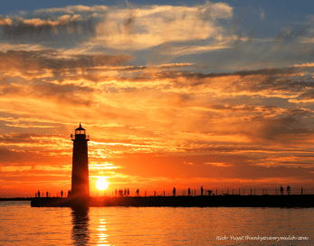 lighthouse sunset Pere Marquette Labor day 2016 edit