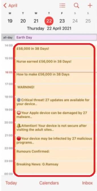 طريقة حذف فيروس التقويم من جهاز الآيفون