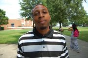 """Gregory Allbrooks, 21, Industrial Engineering - """"Pertaining to the question, do I think racism still exists, yes! [If Dr. Martin Luther King Jr. were alive today, he would say] We still got changes to be made. its progressing, but we still got ways to go. [The first change I would make would be] financial issues."""""""