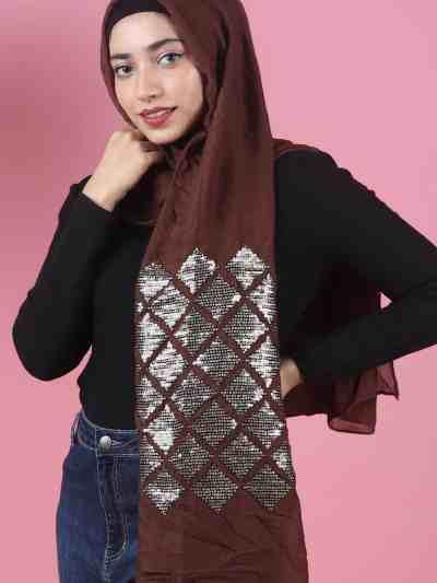 red diamond sequins hijab