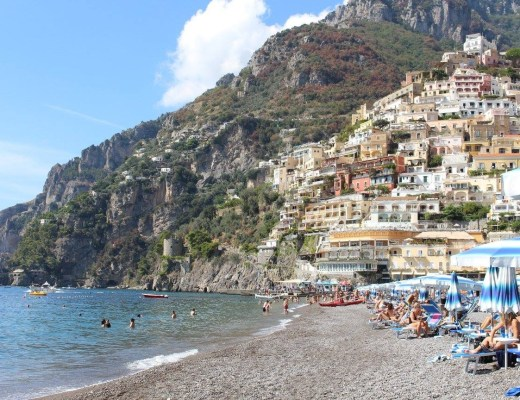 View of Positano beack Italy