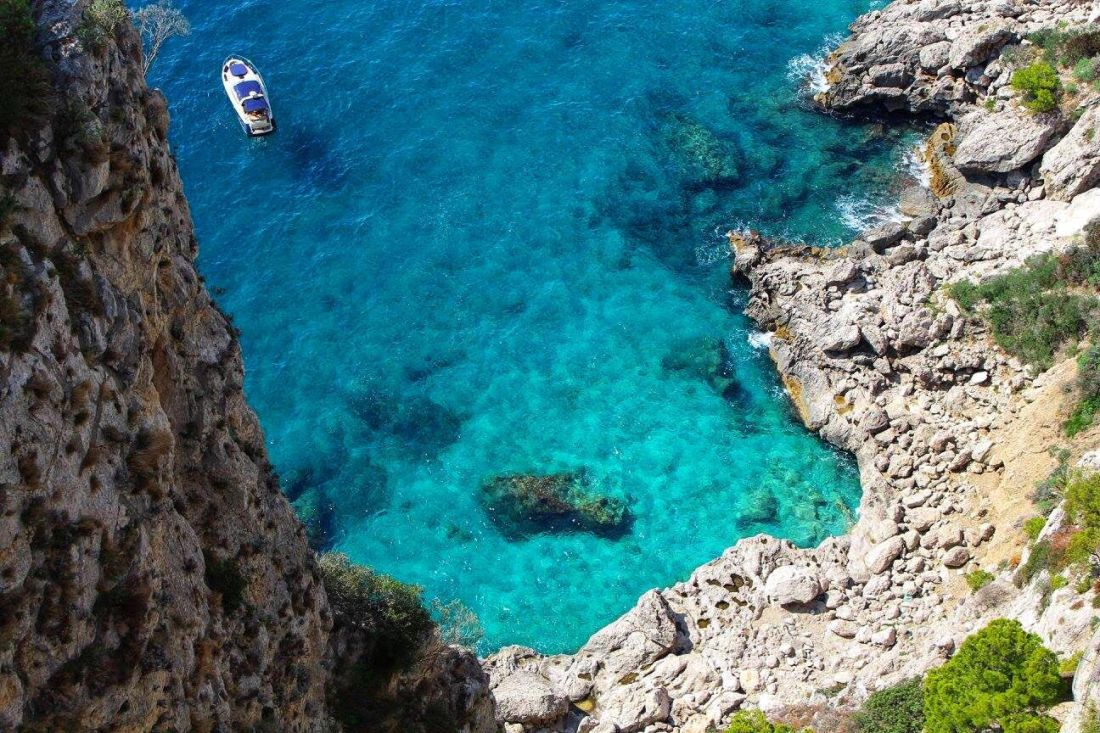 capri blue sea and boat