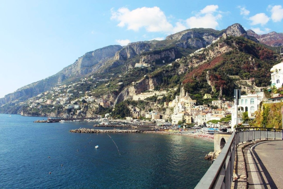 view of amalfi italy taken from the road