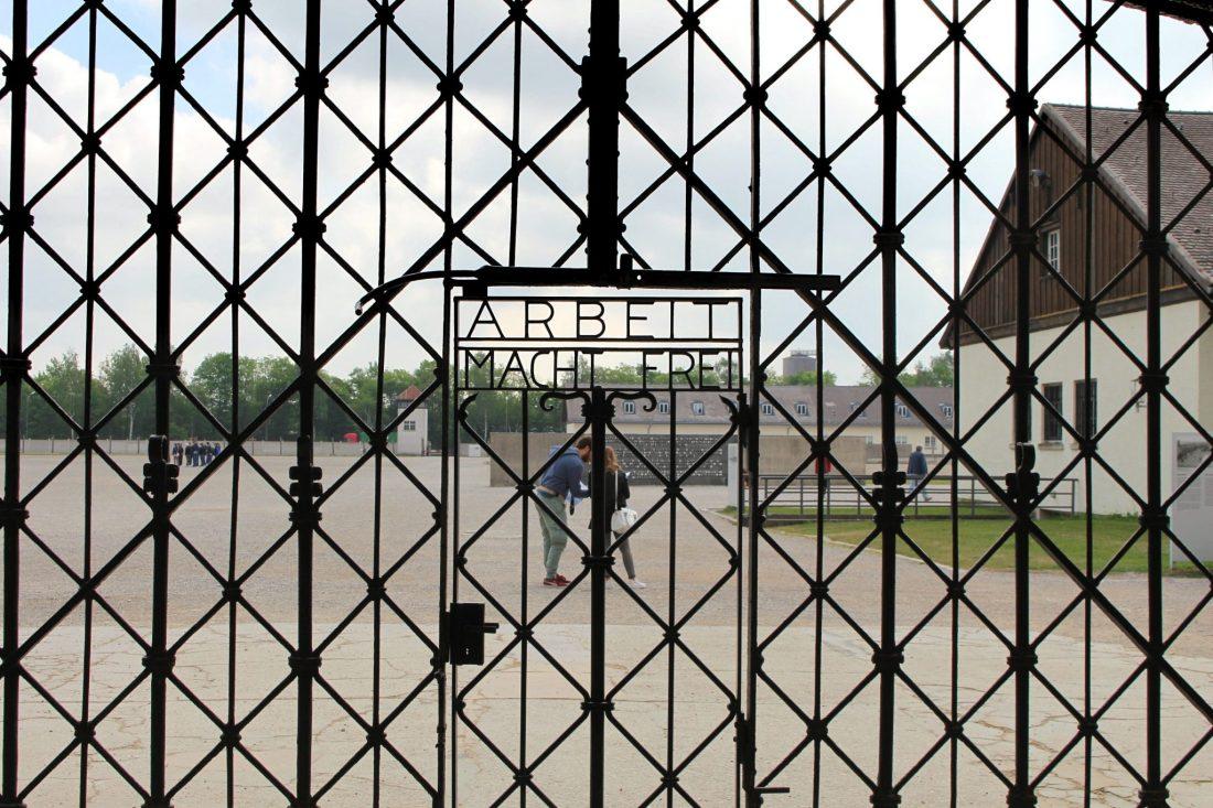 Dachau Gate. Visiting Dachau Concentration Camp Memorial Site https://thatanxioustraveller.com #europe #travel #munich #dachau #history