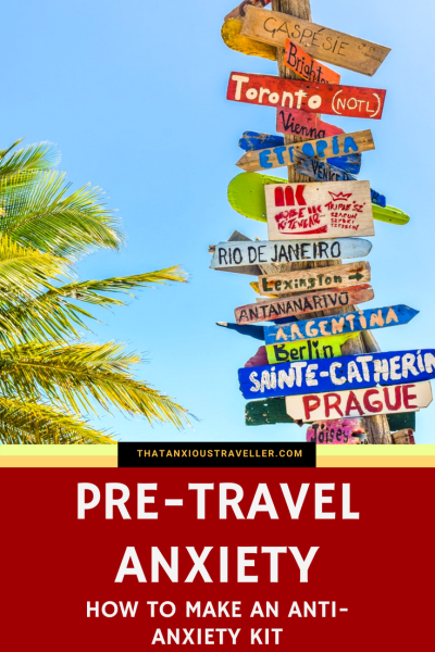Pre-Travel Anxiety: How To Make An Anti-Anxiety Kit. Pre-travel anxiety takes something you've been looking forward to, and makes you dread it. For your travel companions, it can be stressful. But with the resources available on the internet, it's possible to make an anti-anxiety kit which will help you - find out the best items you can buy to give you peace of mind! https://thatanxioustraveller.com #travel #anxiety #nerves #worry #help #pretravel #mental #health