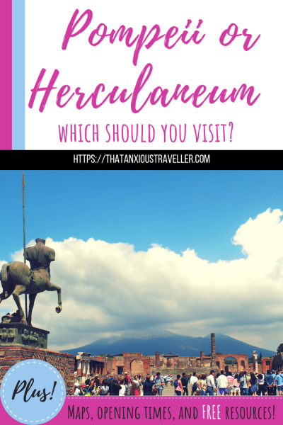 Pompeii or Herculaneum - which should you visit? This in-depth article gives you all the pros and cons of each site, in order to help you decide. Also, links to free goodies such as downloadable guides, maps, videos, and opening times! https://thatanxioustraveller.com #italy #pompeii #herculaneum #europe #travel
