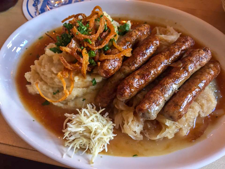 Salzburg itinerary - sausages at Gasthof Alter Fuchs