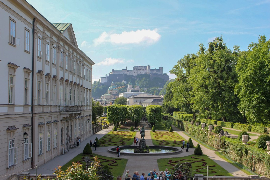 A view from the Schloss Mirabell in Salzburg, looking towards the Hohensalzburg Fortress. Landscaped gardens lay between the two.