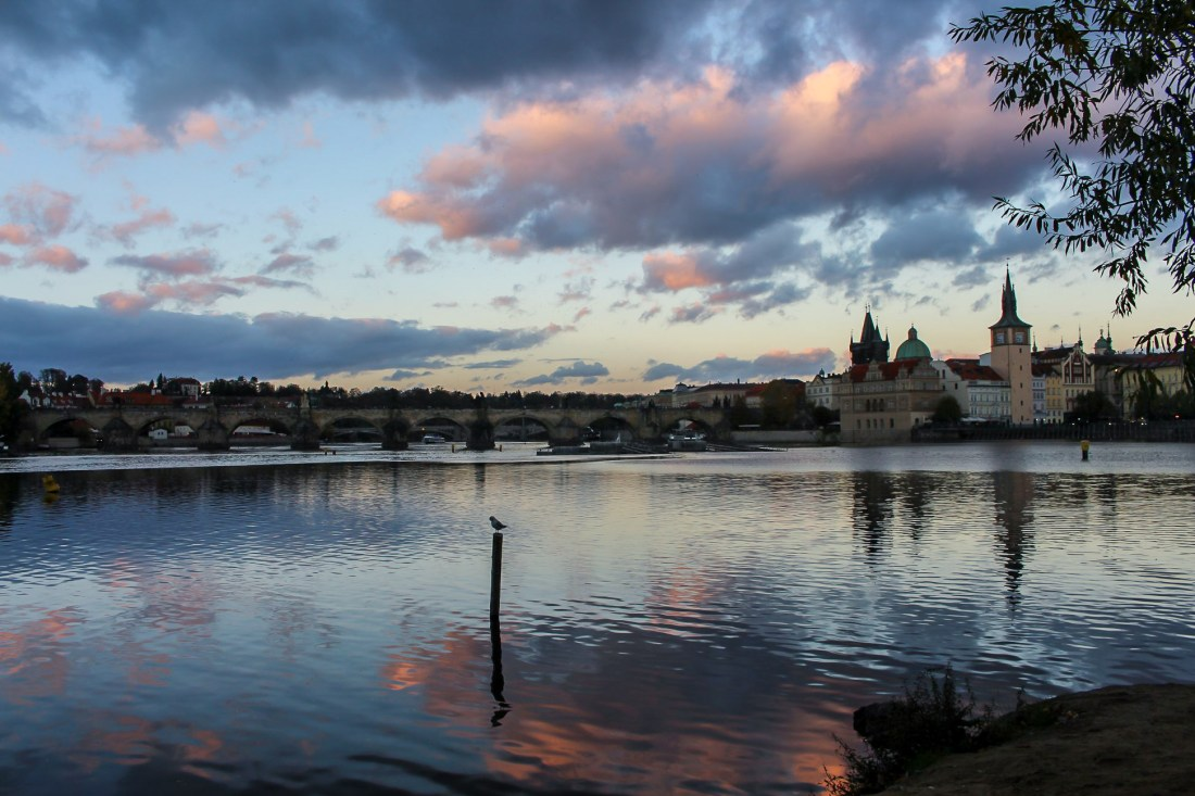 View of the Charles Bridge and Vltava River at dusk, Prague