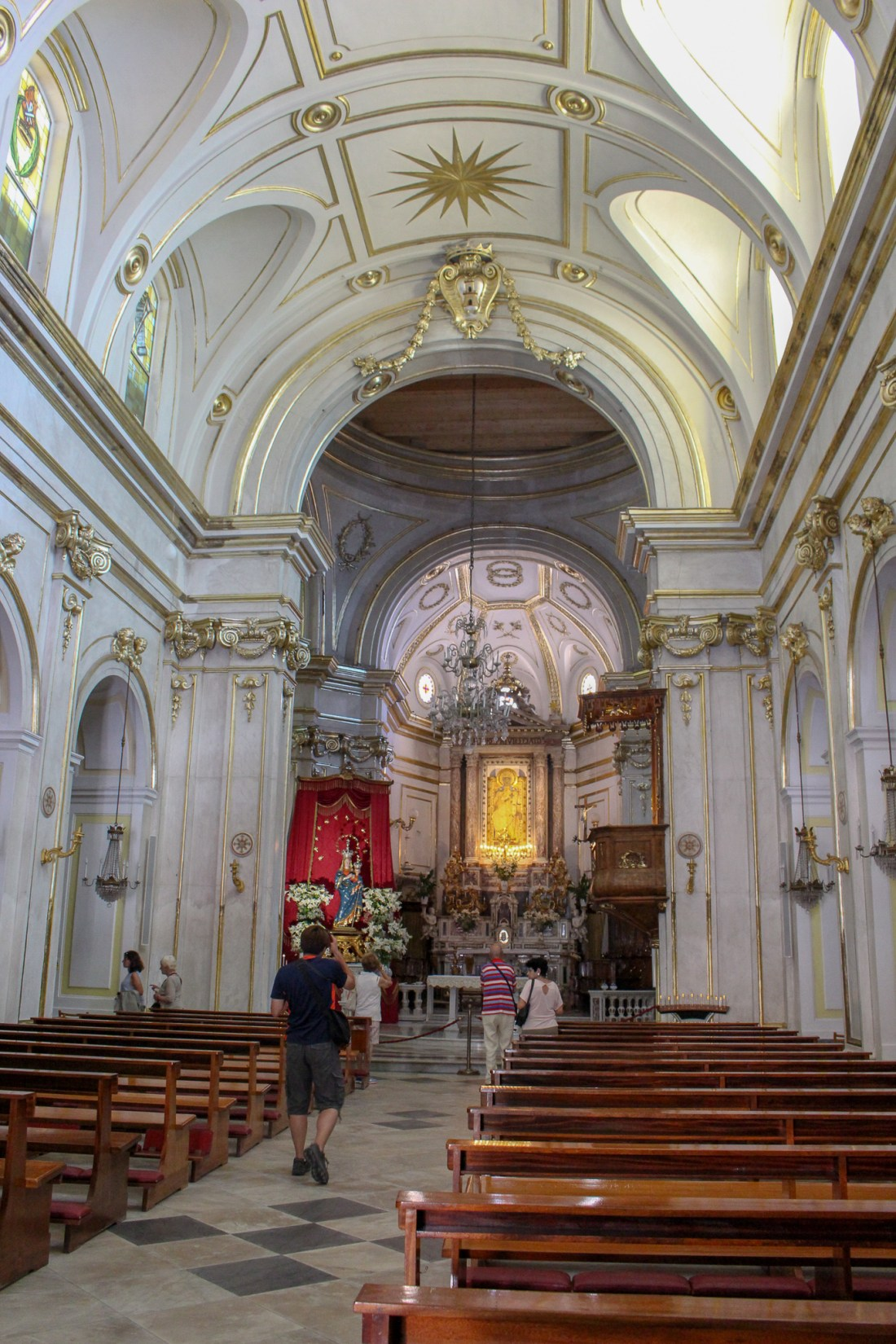 Inside of a church in Positano, Italy