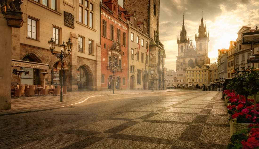 Empty street near Old Town Square in Prague