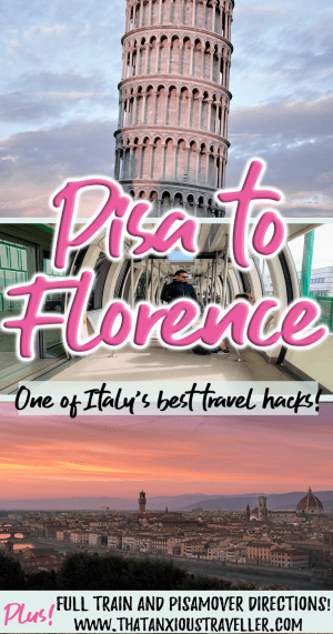 Traveling to Florence, Italy? How about using this travel hack and going from Pisa to Florence? You can save a lot of money! Read our guide on how to get from Pisa Airport to Florence city center by car, bus, or train! https://thatanxioustraveller.com #italy #florence #pisa #train #bus #car #travel #hack
