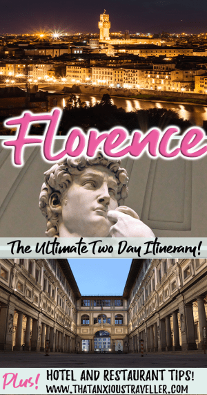 Spending 2 days in Florence, and looking for an itinerary and guide to the city's most beautiful places? Here it is! With tips on history, photography, where to stay and where to eat in Florence, this is all you need! #thatanxioustraveller #italy #europe #florence #2 #day #itinerary #city #guide #uffizi #david