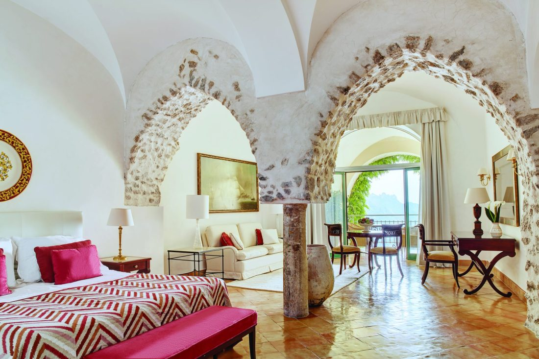 Stone arches inside a hotel room at the Belmonf Hotel Caruso