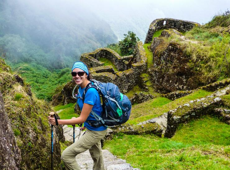 A youg woman hiking the Inca Trail in Peru