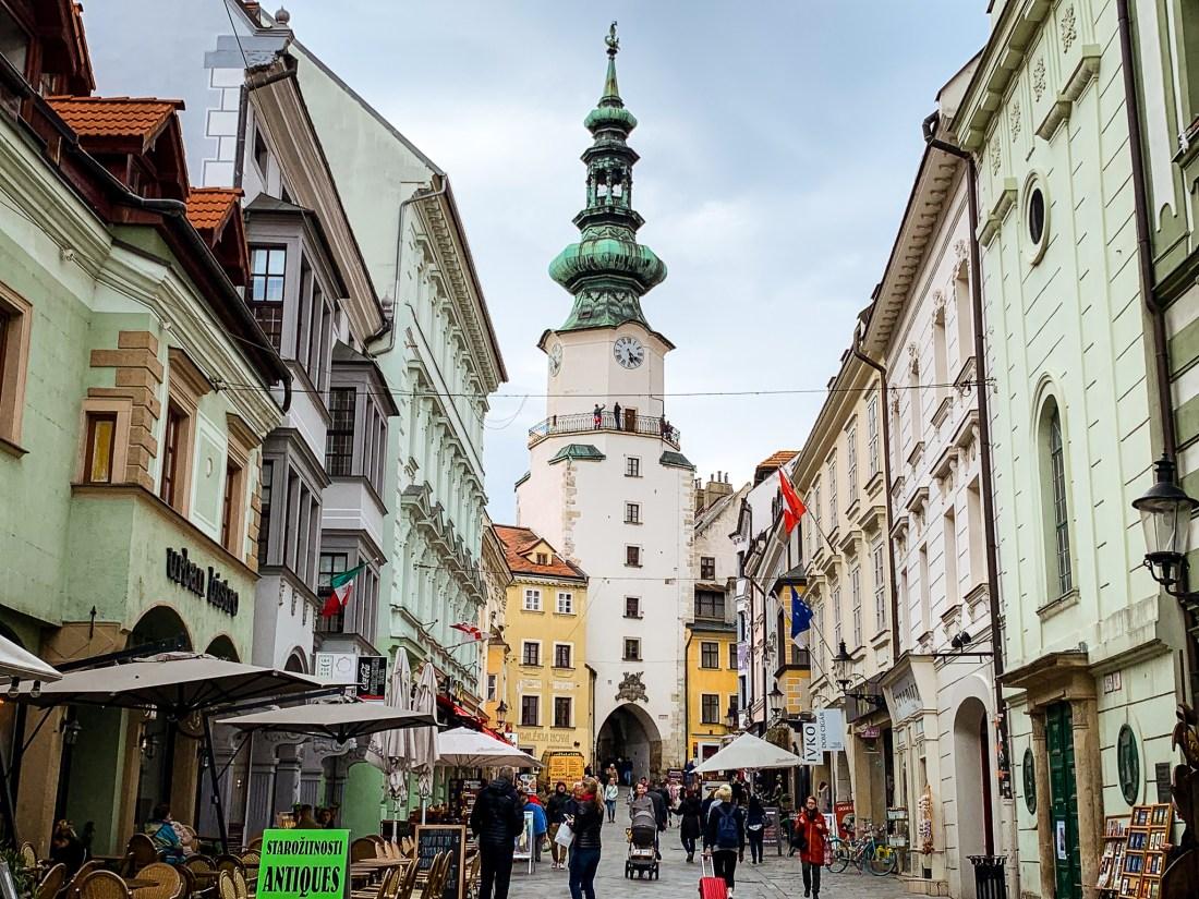 A pretty street in Bratislava, Slovakia