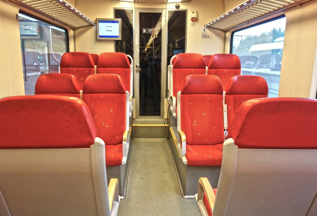 Red seats on a train