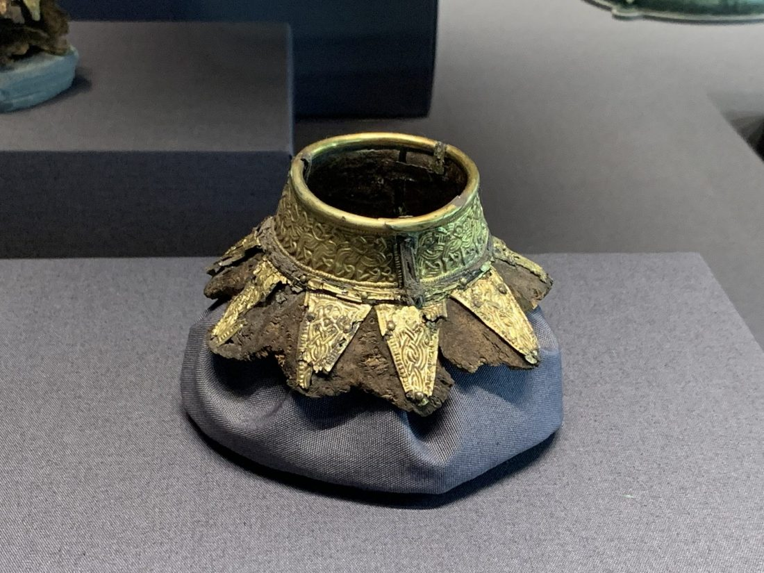 The gold neck of a Saxon drinking vessel