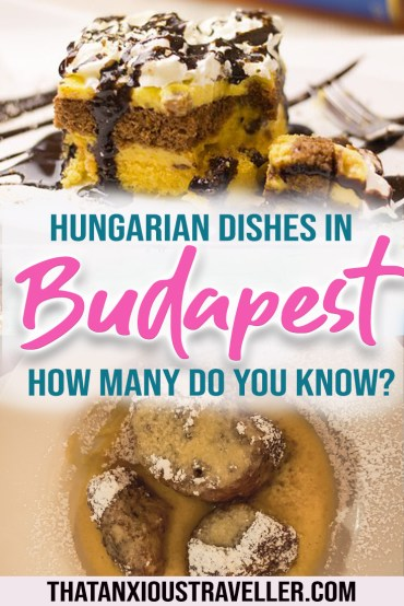 "Curious about Budapest and wondering ""what do Hungarians eat?"" Looking for the best goulash soup in Budapest, or classical Hungarian sweets or cakes? This guide helps you know what to eat in Budapest, by giving you the best traditional Hungarian food, where to find street food in Budapest, and cheap Hungarian food Budapest! Also contains links to recipes! #budapest #food #hungary"