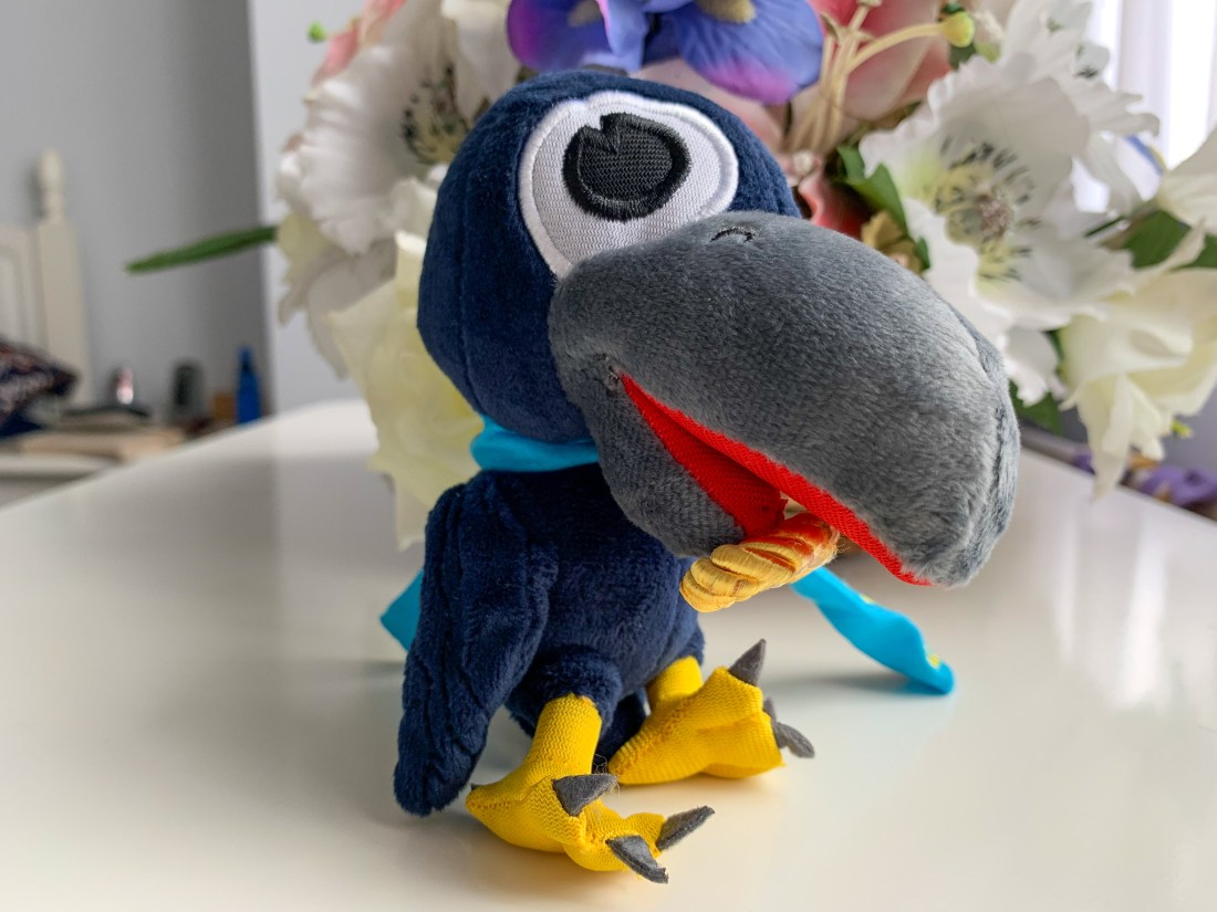 A cuddly toy of Matty the Raven, mascot of Matthias Church in Budapest