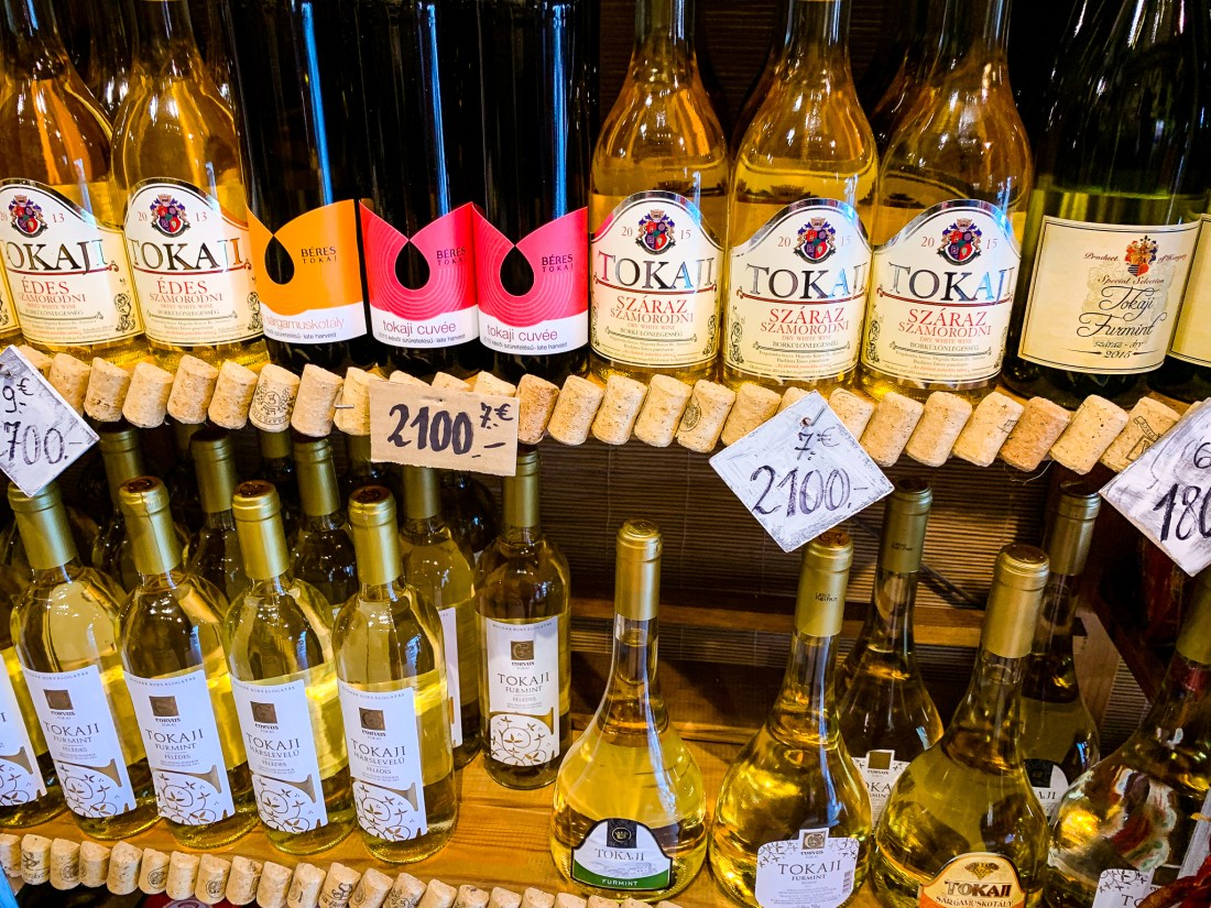 Bottles of Tokaji wine in a Budapest shopping mall