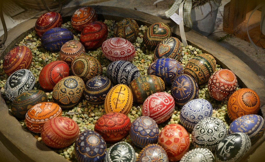 Hungarian painted eggs in a basket