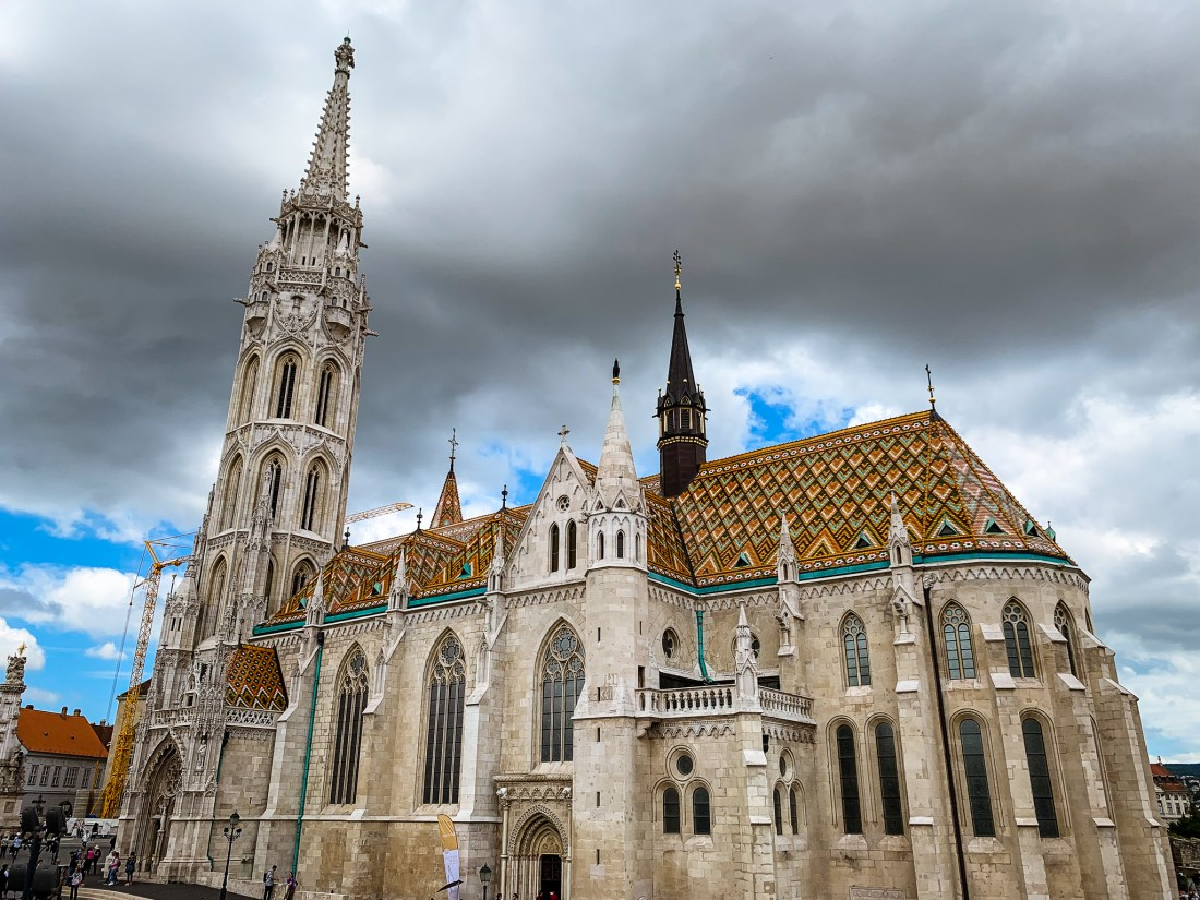 Matthias Church, with a brown, green and yellow tiled roof
