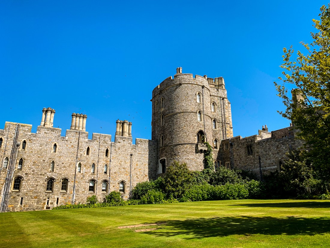 The entrance to Windsor Castle, England, featuring a large round tower