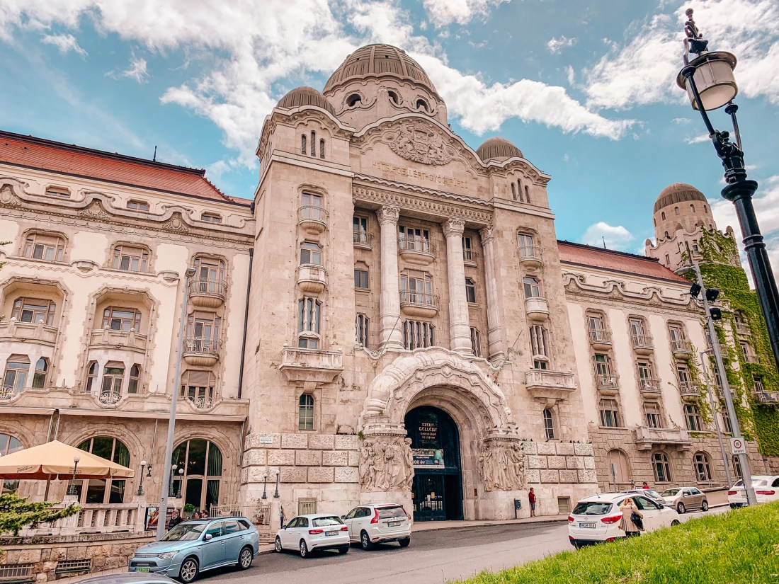 The outside of the Gellert Hotel, home of the Gellert Baths. These are a definite must for your list of what to do in Budapest in three days!