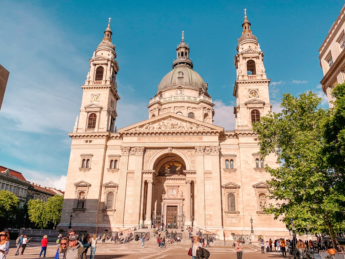 The front of St. Stephen's Basilica in Budapest. The two towers, dome, and public square mean that it should be on any 3 days in Budapest itinerary!
